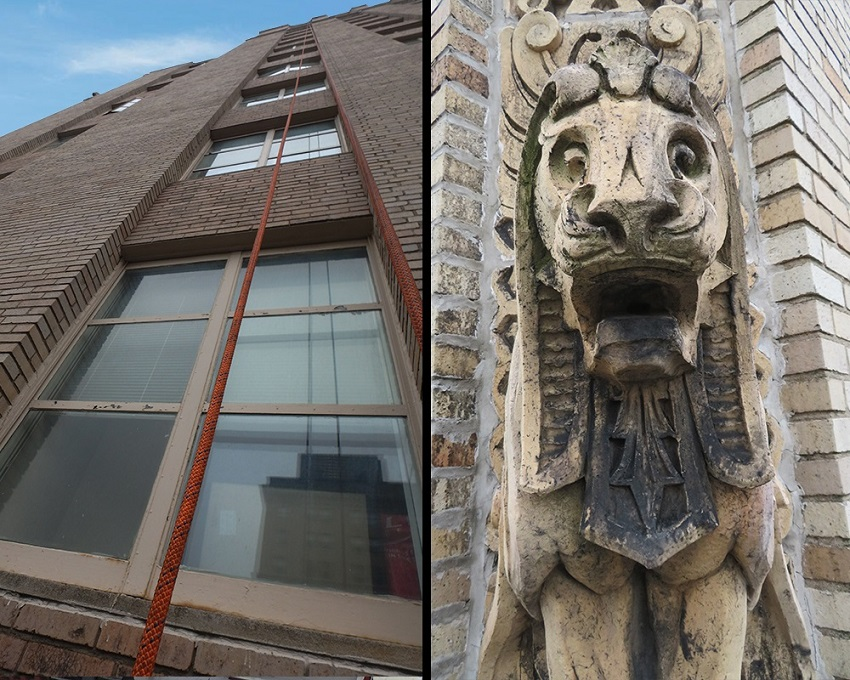 Structural Engineer | Facade Restoration | 1500 Walnut | Philadelphia, PA | Side-by-side: one vertical shot of building, other shot close-up of facade | O'Donnell & Naccarato