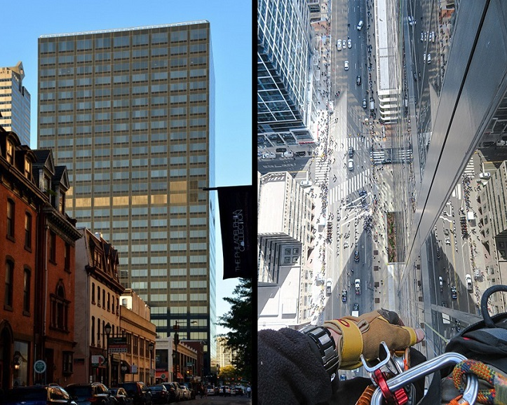 Structural Engineer | Facade Restoration | 2000 Market Street | Philadelphia, PA | Side-by-side: one shot of entire building, other shot of street from worker scaling building | O'Donnell & Naccarato