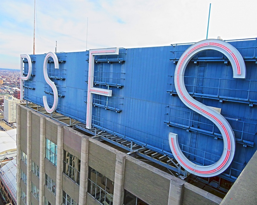 View of PSFS sign on Loews Philadelphia building | structural engineering firm Philadelphia  | O'Donnell & Naccarato
