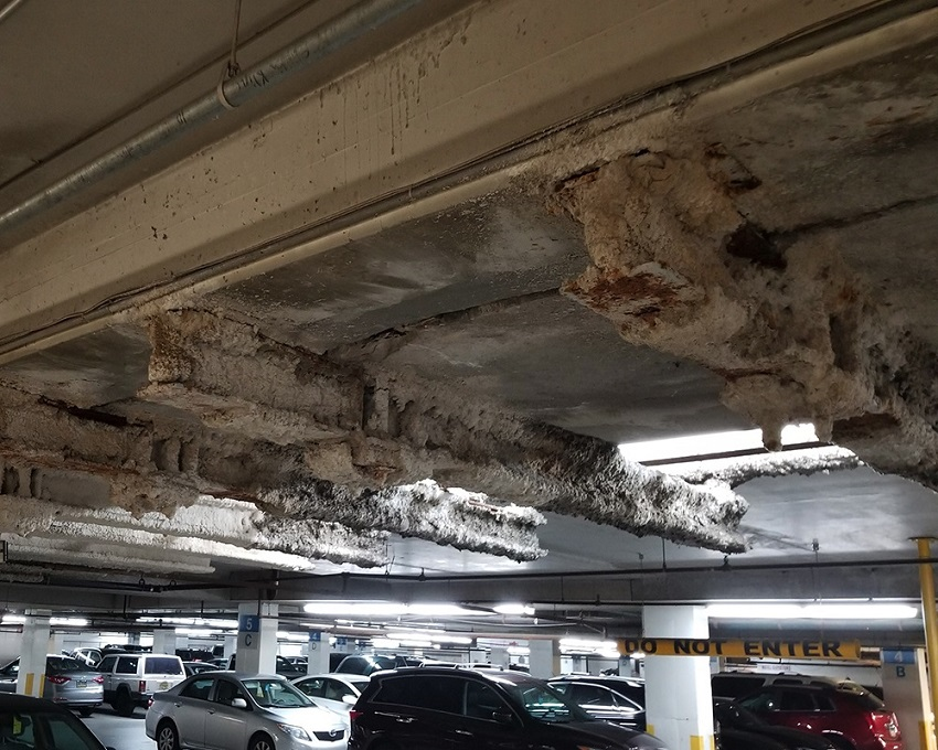 Photo of Sheraton Garage interior and ceiling of a parking level | garage building maintenance | O'Donnell & Naccarato