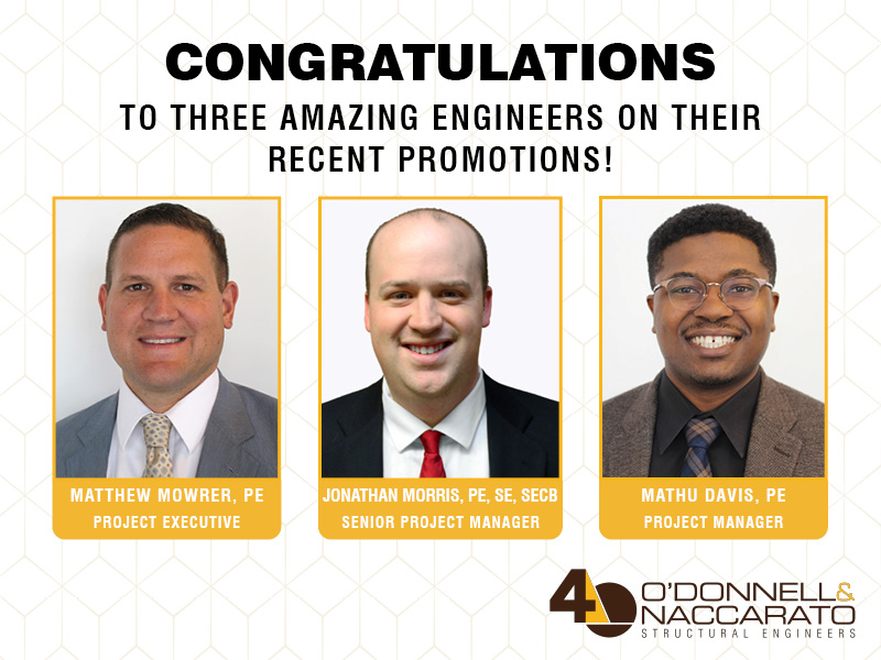 Photos of Matthew Mowrer, Jonathan Morris, and Mathu Davis | O'Donnell & Naccarato announces staff promotions | O'Donnell & Naccarato